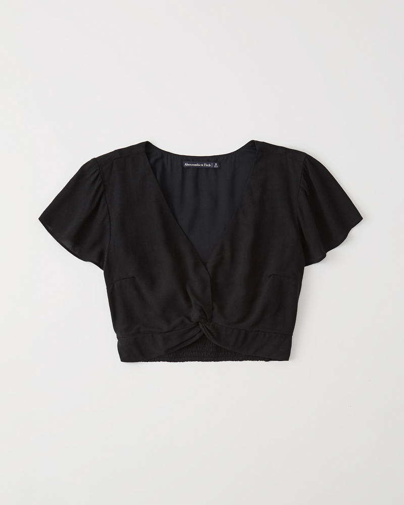 a29013eb6bd3ae Womens Knot-Front Crop Top