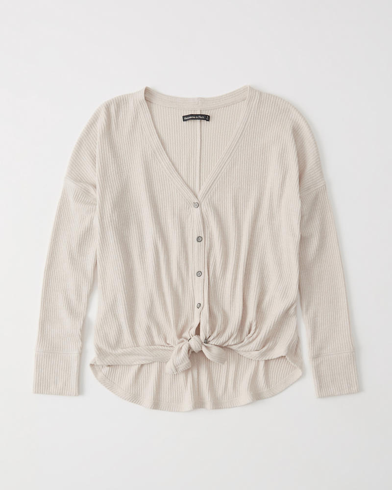 Tie Front Button Up Top by Abercrombie & Fitch