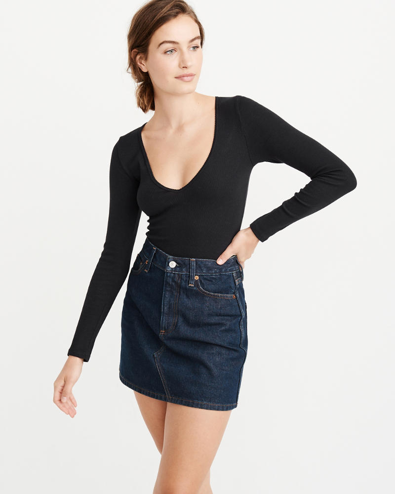 V Neck Long Sleeve Bodysuit by Abercrombie & Fitch