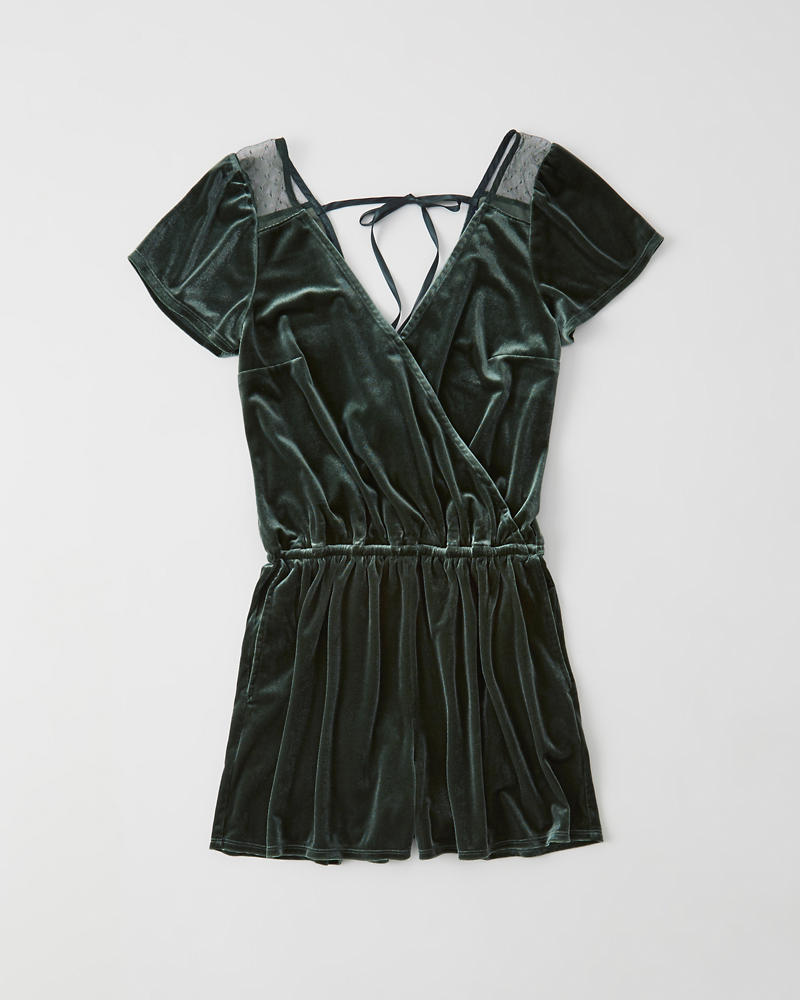 Velvet Wrap Front Romper by Abercrombie & Fitch