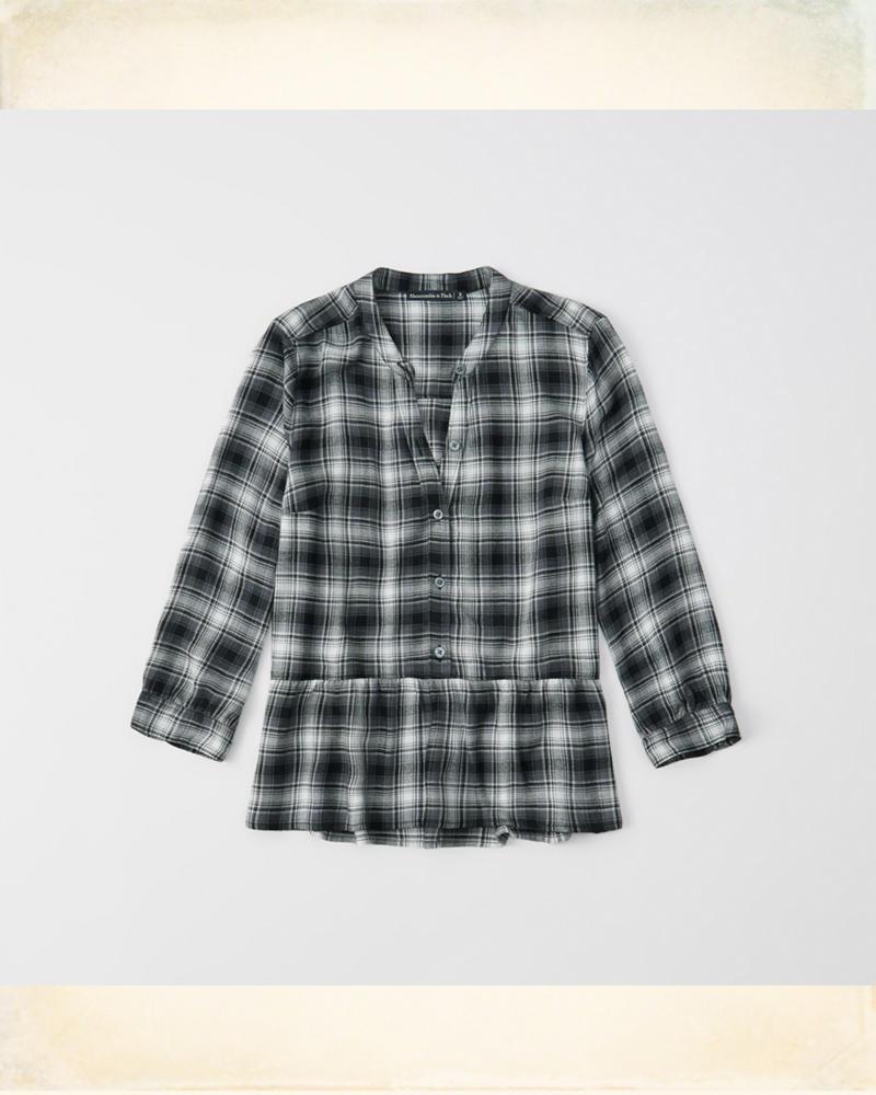 477113b13dc097 Womens Peplum Plaid Shirt