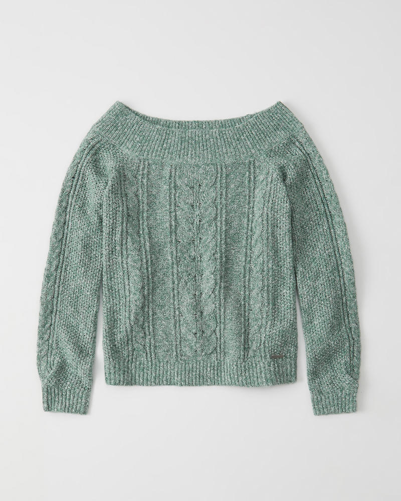 Off The Shoulder Cable Knit Sweater Abercrombie