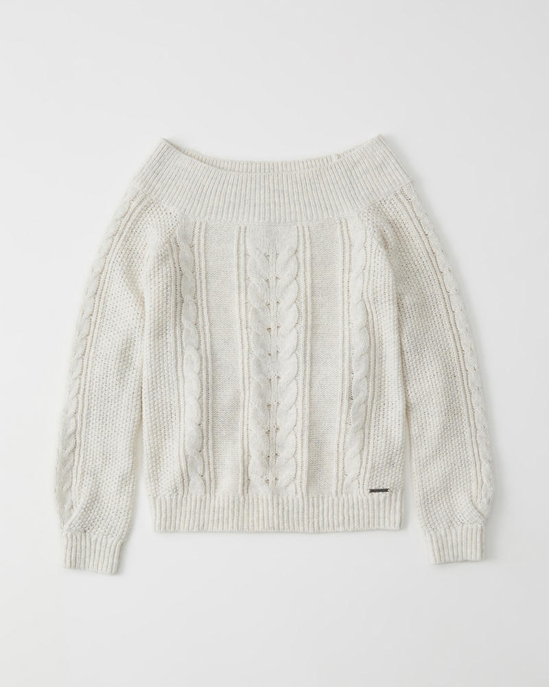 Womens Off The Shoulder Cable Knit Sweater Womens Tops