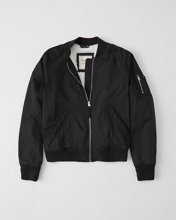 Sherpa Lined Bomber Jacket by Abercrombie & Fitch