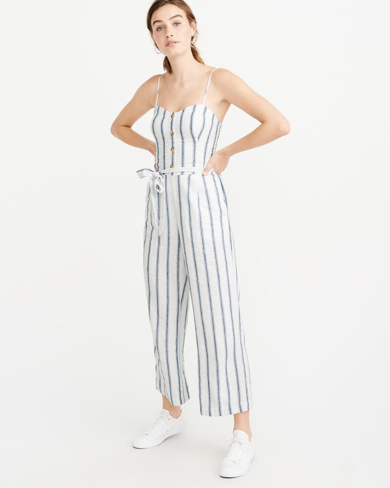 Belted Button Front Jumpsuit by Abercrombie & Fitch