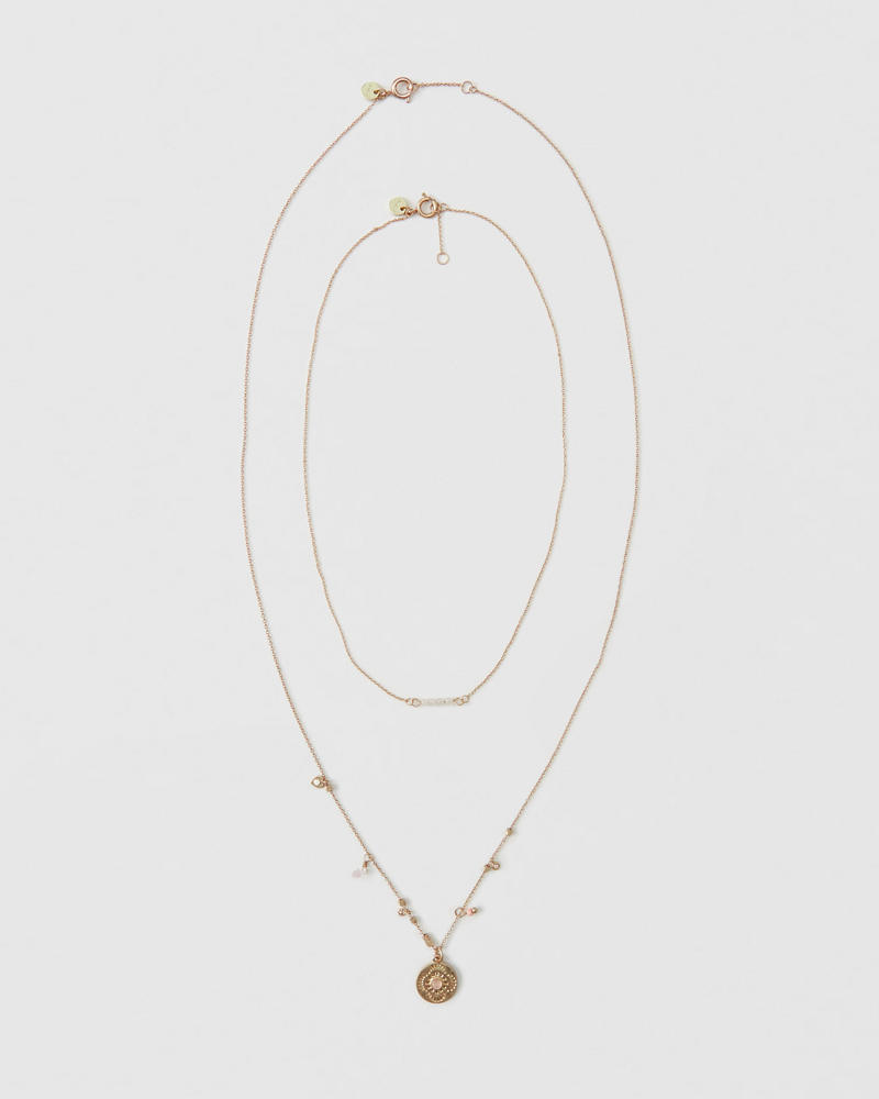 Gold Medallion Necklace by Abercrombie & Fitch