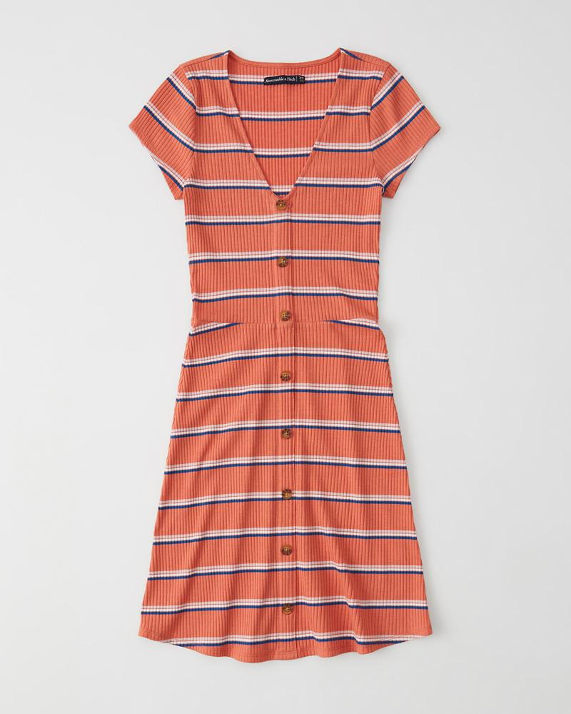 91359bc8afcb Womens Short-Sleeve Button-Up Knit Dress