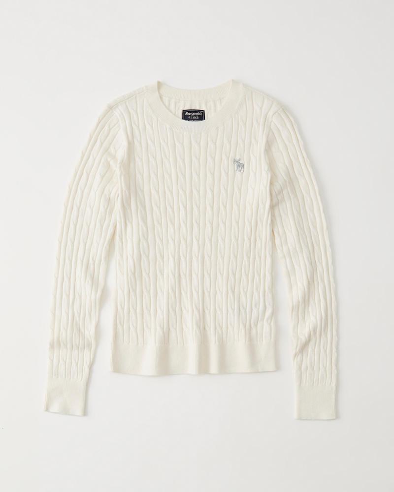 Womens - Suéter de tejido trenzado con cuello redondo e ícono ...