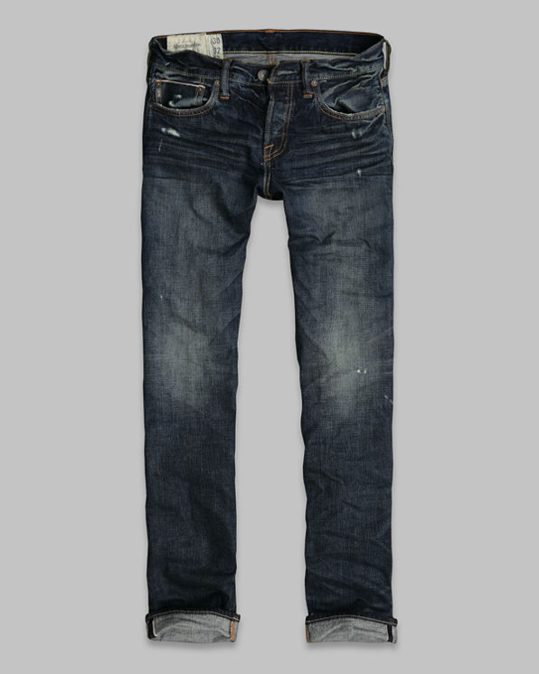 Mens A&F Slim Straight Selvedge Jeans