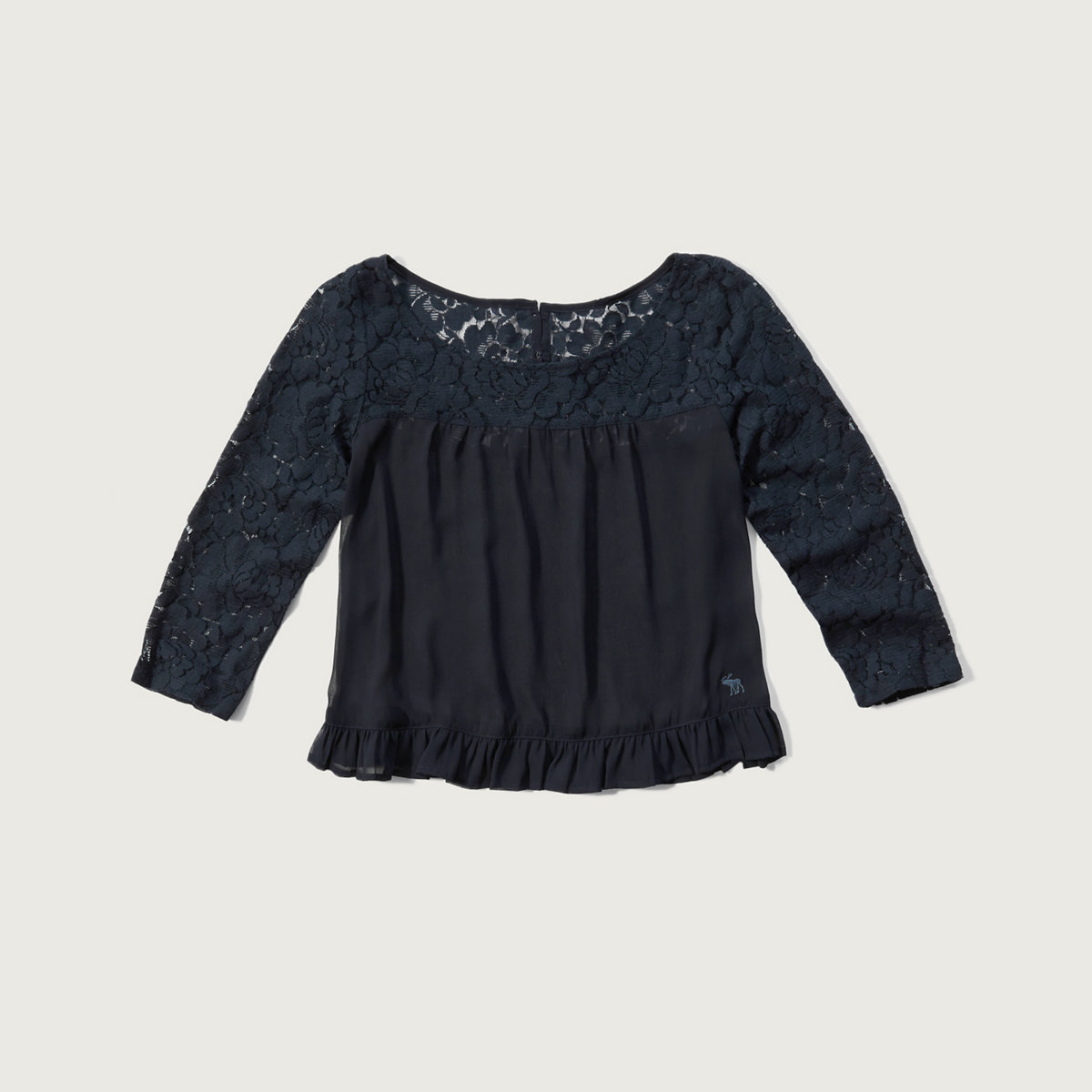 Lace-yoke Ruffle Top