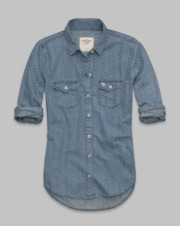 ANF Tristen Dot Denim Shirt