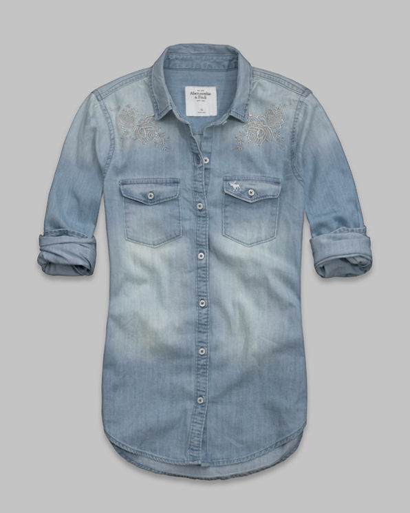 Womens Gemma Embroidered Denim Shirt