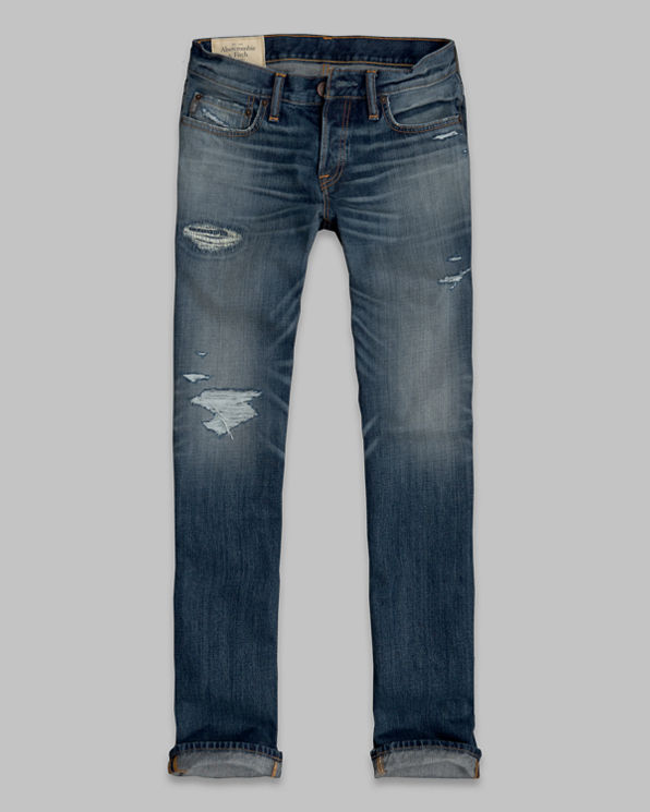 Mens A&F Classic Straight Button Fly Jeans