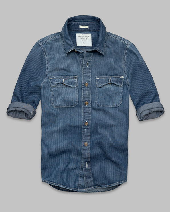 Mens Stripe Denim Shirt