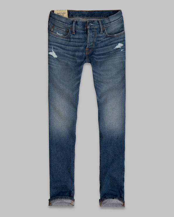 Mens A&F Slim Straight Button Fly Jeans