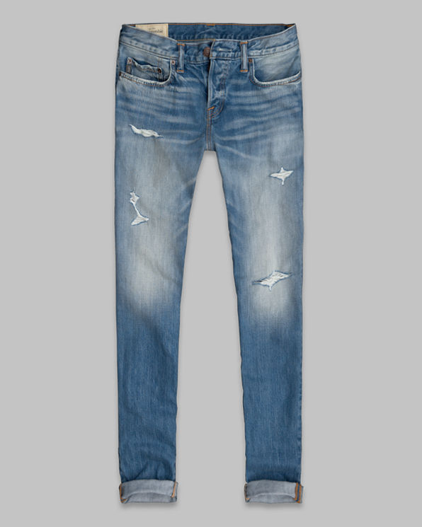 Mens A&F Classic Taper Button Fly Jeans