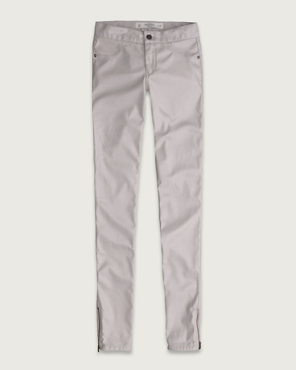 Womens A&F Mid Rise Vegan Leather Jeggings
