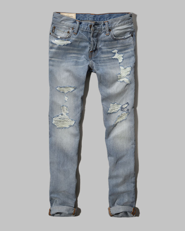 Mens A&F Super Skinny Button Fly Jeans