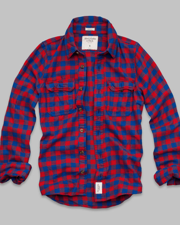 ANF Railroad Notch Flannel Shirt