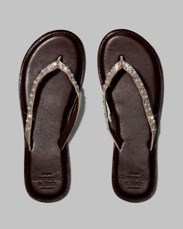 Womens Genuine Leather Flip Flops