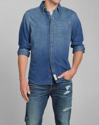Mens Washed Denim Shirt