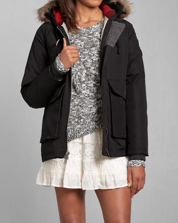 ANF Woolrich with A&F Patrol Down Short Parka