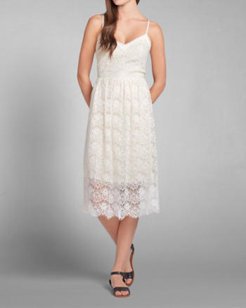 Womens Leigh Midi Length Lace Dress