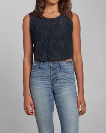 Womens Jessica Lace Crop Top