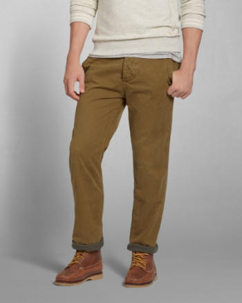 Mens A&F Flannel-Lined Chinos
