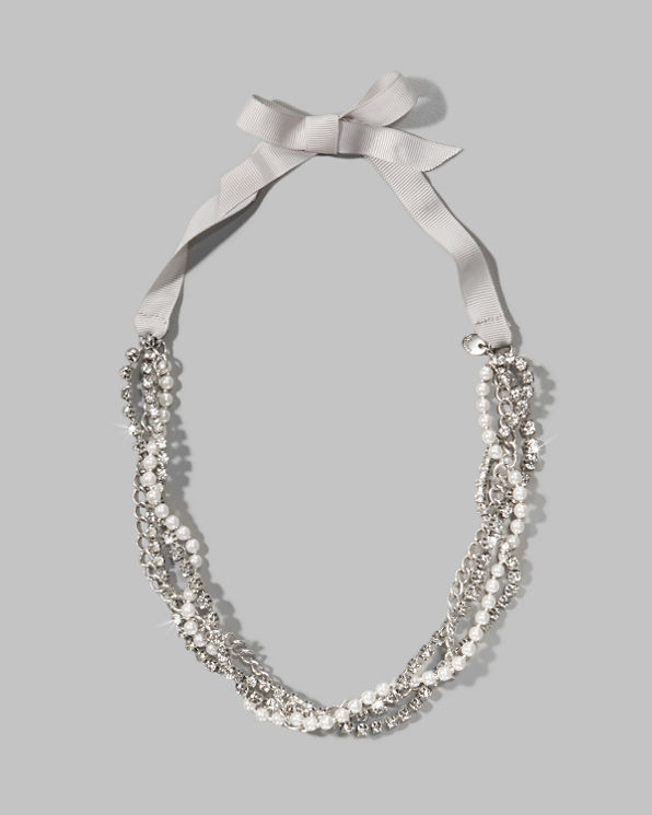 Womens Pearl Ribbon Necklace