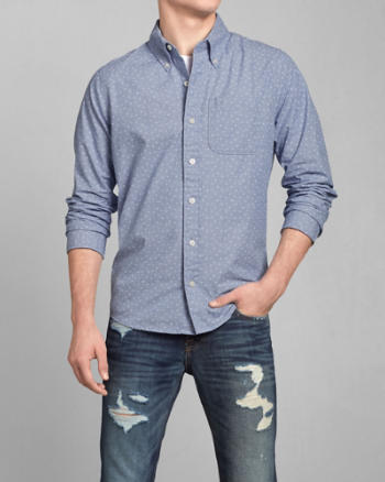 Mens Diamond Print Poplin Shirt