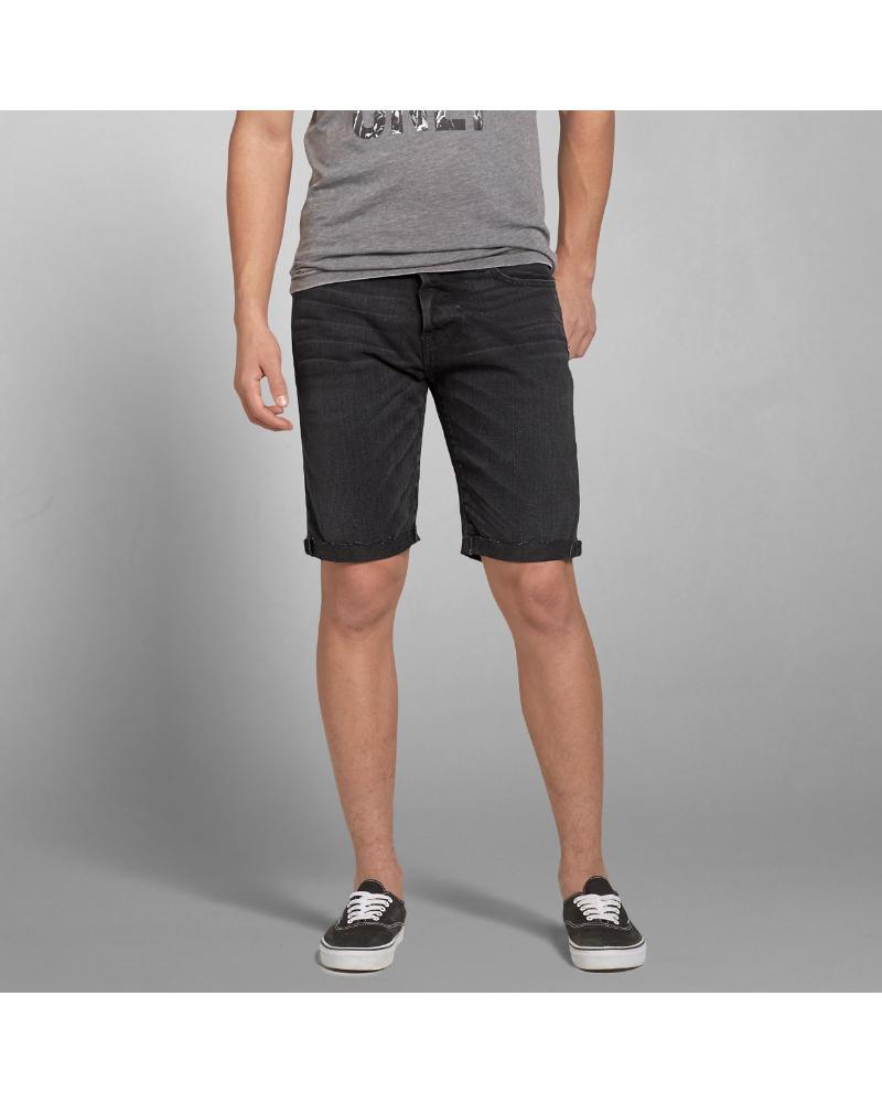 Abercrombie & Fitch Mens Classic Fit Denim Shorts (Black)