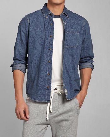 ANF Floral Denim Shirt