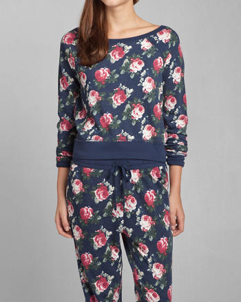 ANF Floral Print Sleep Sweatshirt