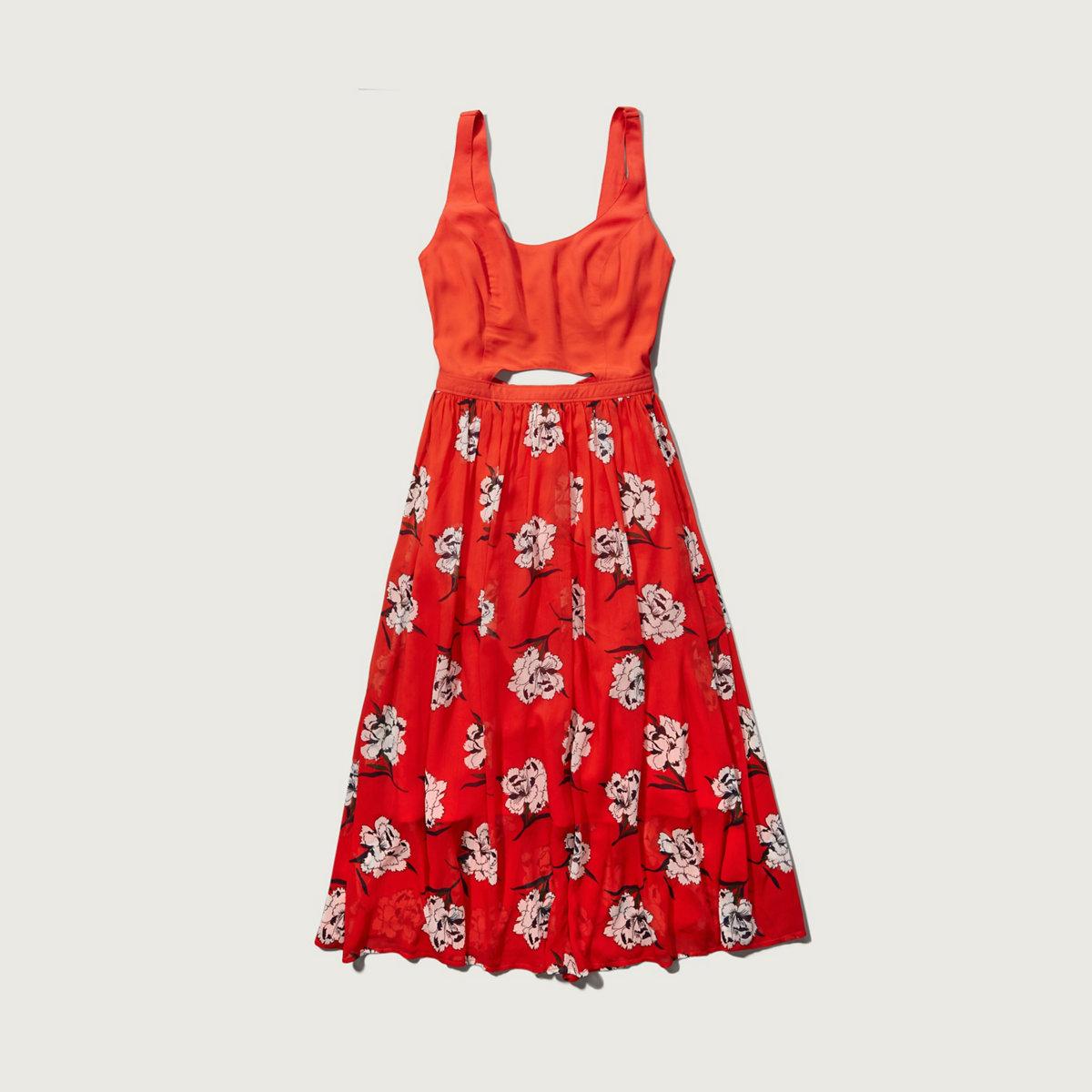 Pleated Cutout Midi Dress