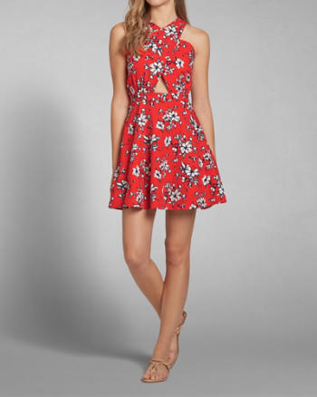 Womens Cross-Front Skater Dress
