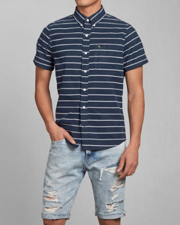 Mens Striped Poplin Shirt