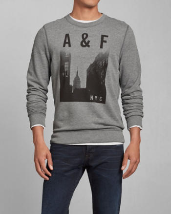 ANF Photoreal NYC Graphic Crew Sweatshirt