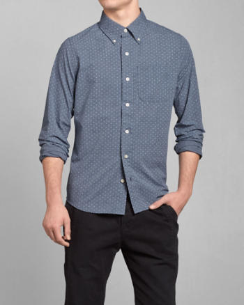 Mens Dot Print Poplin Shirt