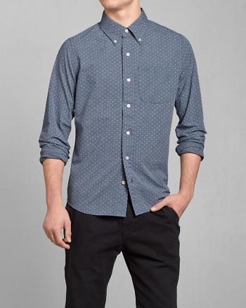 ANF Dot Print Poplin Shirt