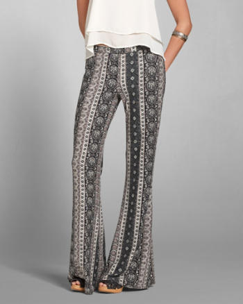 Womens Pattern Drapey Flare Pants
