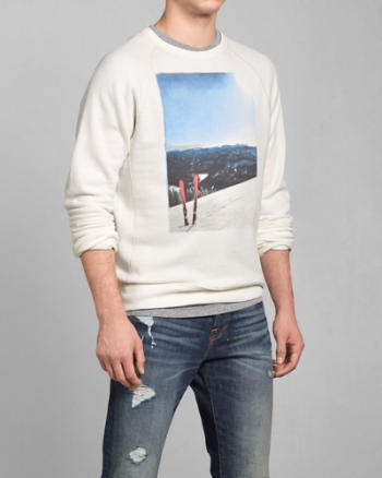 Mens Ski Photoreal Graphic Sweatshirt