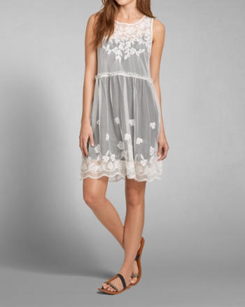 Womens Sheer Embroidered Lace Dress