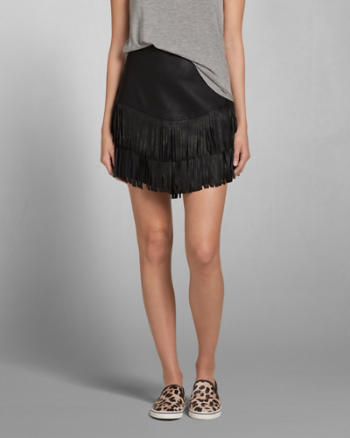 Womens Vegan Leather Fringe Skirt