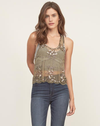Womens Sheer Easy Sequin Cami