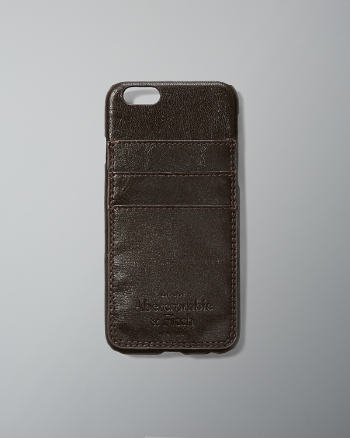 Mens Logo Embossed Leather Wallet Case