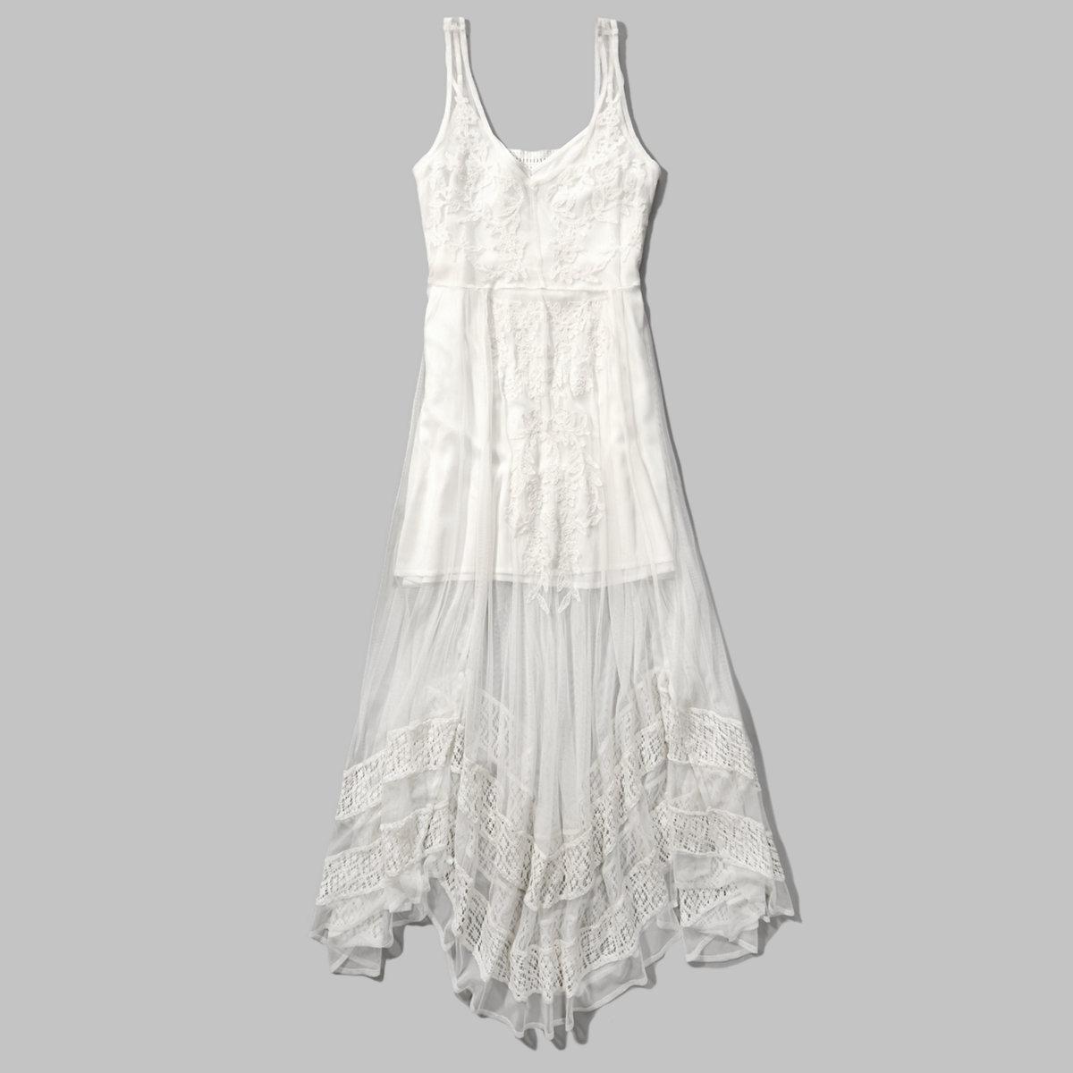 Asymmetrical Lace Maxi Dress