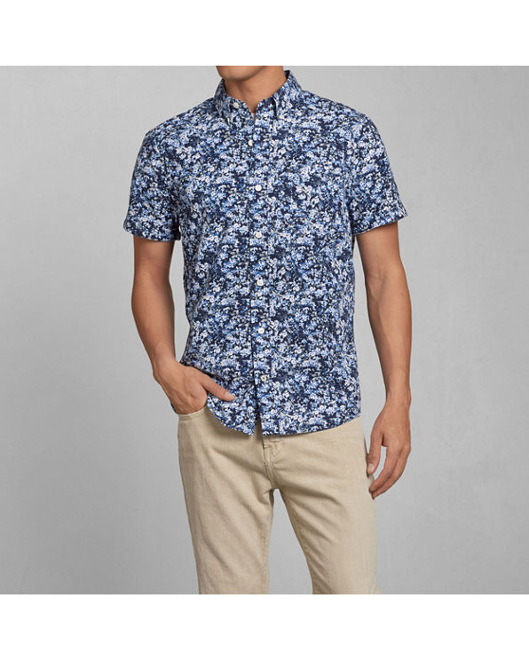 Mens Floral Print Poplin Shirt Mens Tops