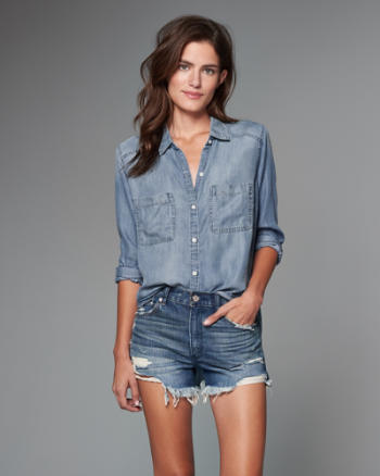 Womens Drapey Chambray Shirt