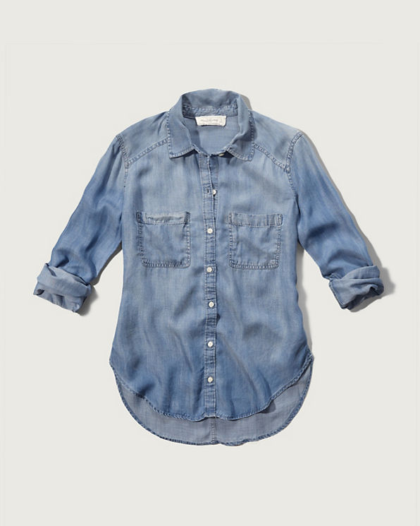Womens drapey chambray shirt womens clearance for Chambray shirt women